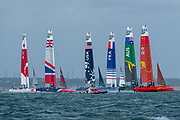 Start of race one. Race Day. Event 4 Season 1 SailGP event in Cowes, Isle of Wight, England, United Kingdom. 11 August 2019: Photo Chris Cameron for SailGP. Handout image supplied by SailGP