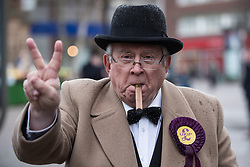 © Licensed to London News Pictures . 28/01/2017 . Stoke-on-Trent , UK . A Winston Churchill lookalike outside the UKIP shop . UKIP formally launch their campaign in the by-election in the constituency of Stoke-on-Trent Central , at their new campaign shop at 1 Piccadilly in Stoke , with candidate - and party leader - Paul Nuttall . The seat was vacated when Tristram Hunt resigned . Photo credit : Joel Goodman/LNP