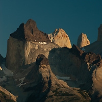 Sunrise lights the Horns  and Towers of Paine, Torres del Paine National Park, Chile.