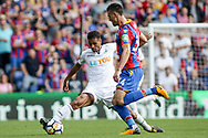 Kyle Naughton of Swansea city tackles Martin Kelly of Crystal Palace ®.<br /> Premier League match, Crystal Palace v Swansea city at Selhurst Park in London on Saturday 26th August 2017.<br /> pic by Kieran Clarke, Andrew Orchard sports photography.