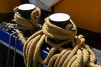 France, Languedoc-Roussillon, Aude (11), Canal du Midi, classé Patrimoine Mondial de l'UNESCO, detail de peniche // France, Languedoc-Roussillon, Aude (11), Canal du Midi, Barge details