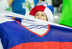 Supporters of Slovenia during basketball match between Slovenia vs Netherlands at Day 4 in Group C of FIBA Europe Eurobasket 2015, on September 8, 2015, in Arena Zagreb, Croatia. Photo by Vid Ponikvar / Sportida