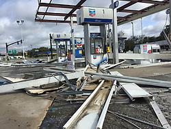 September 11, 2017 - Orlando, Florida, U.S.- Hurricane Irma damaged this Chevron gas station on the corner of U.S. Highway 441 and Perkins Street in Leesburg. (Credit Image: © Stephen M. Dowell/TNS via ZUMA Wire)