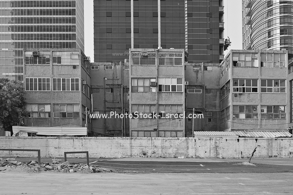 Old housing project in central Tel Aviv in black and white