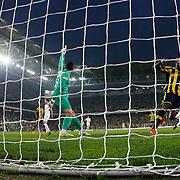 Fenerbahce's scores during their Turkish superleague soccer match Fenerbahce between Balikesirspor at the Sukru Saracaoglu stadium in Istanbul Turkey on Saturday 02 May 2015. Photo by TURKPIX