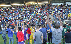 22042018 (Durban) Maritzburg players Sings after the match when their team Maritzburg United FC make their way to the final of the Nedbank when playing against Mamelodi Sundowns FC at the Harry Gwala Stadium in Pietermaritzburg, KZN yesterday.<br /> Picture: Motshwari Mofokeng/ANA