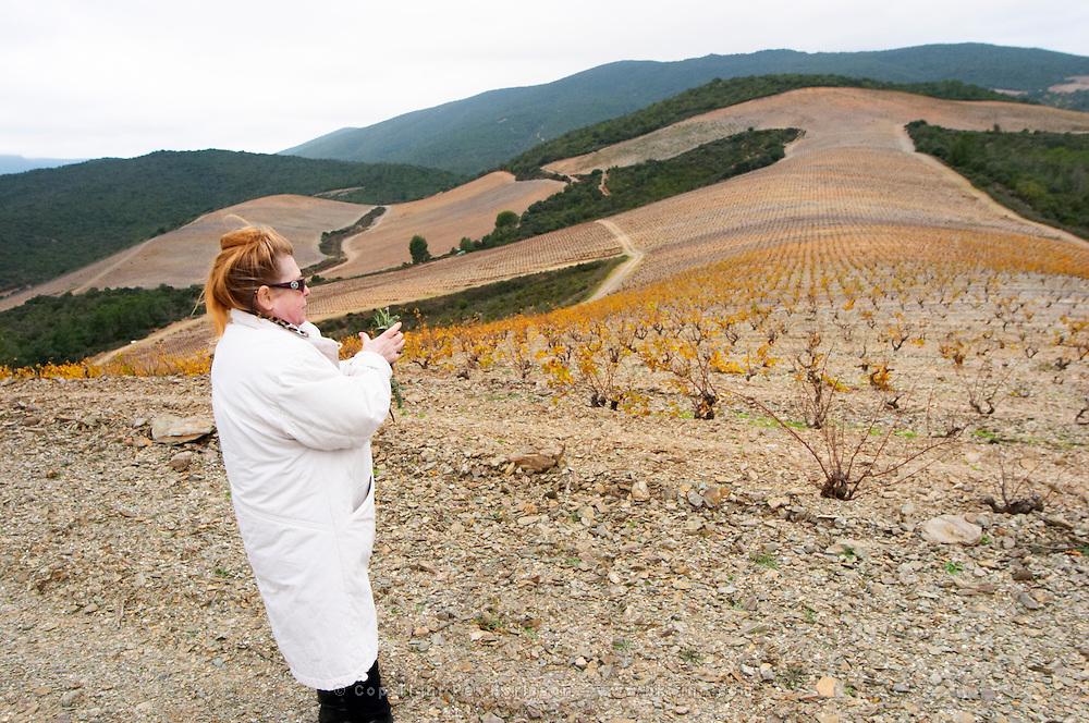 Marie-José Lahore-Bergez Chateau des Erles. In Villeneuve-les-Corbieres. Fitou. Languedoc. Owner winemaker. France. Europe.