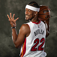 Miami Heat forward Jimmy Butler (22) poses for a portrait during Miami Heat Media Day at the FTX Arena in Miami on Monday, September 27, 2021.