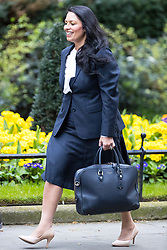 © Licensed to London News Pictures . 29/03/2017 . London , UK . PRITI PATEL arrives . Ministers arriving and leaving for a Cabinet meeting and Prime Minster's Questions , at 10 Downing Street , Westminster . Today (29th March 2017) the British Government will trigger Article 50 of the Lisbon Treaty and commence Britain's withdrawal from the European Union . Photo credit : Joel Goodman/LNP