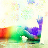 Gratitude is an astoundingly reliable, immediate way of becoming present.<br /> -Danielle LaPorte<br /> <br /> ::::::::::::::::::::::::::::::::::::::::::::::::::::::::::::::::<br /> <br /> Woman in a chakra spectrum embodiment.