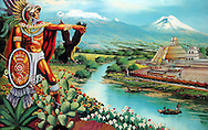 """Reproduction of Cuauhtemoc (L). The name Cuauhtemoc means """"One That Has Descended Like an Eagle"""" in Nahuatl - commonly rendered in english as """"Falling Eagle"""". Cuauhtemoc took power in 1520 as successor of Cuitláhuac and was a nephew of the emperor Moctezuma II, and his young wife was one of Moctezuma's daughters. He ascended to the throne when he was 18 years of age, as his city was being besieged by the spanish and devastated by an epidermic of smallpox. Feb. 17, 2008. (ivan gonzalez)."""