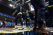 Aerial Powers of the Dallas Wings warms up before tipoff against the Connecticut Sun during a WNBA preseason game in Arlington, Texas on May 8, 2016.  (Cooper Neill for The New York Times)