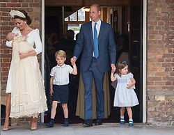 The Duke and Duchess of Cambridge with their children Prince George, Princess Charlotte and Prince Louis after Prince Louis's christening at the Chapel Royal, St James's Palace, London.