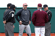 21 February 2015: Hartford head coach Justin Blood (center) with (from left) umpires Reid Churchill, David Brown, Iona head coach Pat Carey, and home plate umpire Greg Howard. The Iona College Gaels played the University of Hartford Hawks in an NCAA Division I Men's baseball game at Jack Coombs Field in Durham, North Carolina as part of the Duke Baseball Classic. Hartford won the game 12-1.