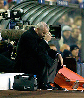 Photo. Jed Wee.<br /> Leeds United v Arsenal, FA Barclaycard Premiership, Elland Road, Leeds. 01/11/03.<br /> Leeds manager Peter Reid cuts a forlorn figure on the bench.