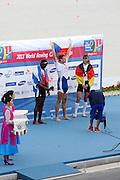 Chungju, South Korea. Men's Single Scull Awards Presentation. Gold Medalist CZEM1X. Ondrej SYNEK, Silver Medalist CUB M1X.  Angel FOURNIER RODRIGUEZ. Bronze medalist. GER M1X. Marcel HACKER. Rowing Championships, Tangeum Lake, International Regatta Course.  Sunday  01/09/2013 [Mandatory Credit. Peter Spurrier/Intersport Images]
