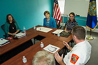 Senator Jeanne Shaheen and Dr. Daisy Pierce with Laconia Fire Chief Kirk Beattie during panel discussion at Navigating Recovery Friday afternoon.  (Karen Bobotas/for the Laconia Daily Sun)