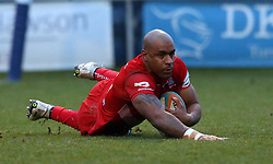 Tom Varndell of Bristol Rugby scores his second try - Mandatory by-line: Robbie Stephenson/JMP - 13/01/2018 - RUGBY - Castle Park - Doncaster, England - Doncaster Knights v Bristol Rugby - B&I Cup