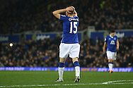 Tom Cleverley of Everton reacts to missing a chance. Barclays Premier league match, Everton v Crystal Palace at Goodison Park in Liverpool, Merseyside on Monday 7th December 2015.<br /> pic by Chris Stading, Andrew Orchard sports photography.