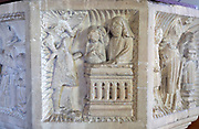 Church of All Saints, Great Glemham, Suffolk, England, UK - Seven Sacrament font depicting confession