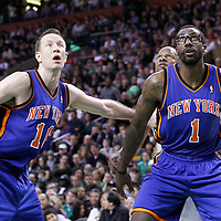 04 March 2012: New York Knicks power forward Amare Stoudemire (1) and New York Knicks small forward Steve Novak (16) vies for the rebound with Boston Celtics shooting guard Ray Allen (20) during the Boston Celtics 115-111 (OT) victory over the New York Knicks at the TD Garden, Boston, Massachusetts, USA.