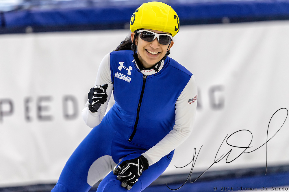 December 17, 2016 - Kearns, UT - Gabriella Hachem skates during US Speedskating Short Track Junior Nationals and Winter Challenge Short Track Speed Skating competition at the Utah Olympic Oval.