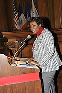 January 11, 2012 - Brooklyn, New York, USA: U.S. Congresswoman Yvette D. Clarke (Dem) of 11th Congressional District of NY, speaks at 2nd Annual Interfaith Memorial Service for Haiti, Wednesday night at Brooklyn Borough Hall. The service was held two years after the Mw 7.0 earthquake at Haiti.