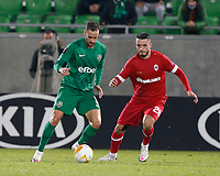 RAZGRAD, BULGARIA - OCTOBER 22: Higinio Marin of Ludogorets competes against Jeremy Gelin of Antwerp during the UEFA Europa League Group J stage match between PFC Ludogorets Razgrad and Royal Antwerp at Ludogorets Arena on October 22, 2020 in Razgrad, Bulgaria. (Photo by Nikola Krstic/MB Media)