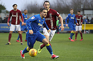 AFC Wimbledon attacker Egli Kaja (21) battles for possession during the EFL Sky Bet League 1 match between AFC Wimbledon and Northampton Town at the Cherry Red Records Stadium, Kingston, England on 10 February 2018. Picture by Matthew Redman.