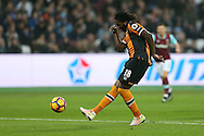 Dieumerci Mbokani of Hull City has a shot at an open goal but sees it hit the post. Premier league match, West Ham Utd v Hull city at the London Stadium, Queen Elizabeth Olympic Park in London on Saturday 17th December 2016.<br /> pic by John Patrick Fletcher, Andrew Orchard sports photography.