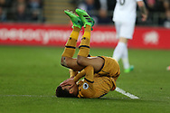 Dele Alli of Tottenham Hotspur covers his face in frustration as he reacts to missing a chance to score. Premier league match, Swansea city v Tottenham Hotspur  at the Liberty Stadium in Swansea, South Wales on Wednesday 5th April 2017.<br /> pic by Andrew Orchard, Andrew Orchard sports photography.