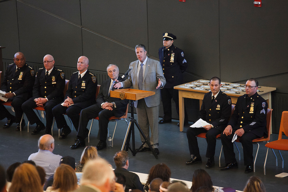 PBA President Patrick Lynch speaks during the NYPD Transit Bureau Canine Unit Graduation Ceremony at the College Point Police Academy in Queens, NY on Tuesday, Oct. 6, 2015.<br /> <br /> Andrew Hinderaker for The Wall Street Journal<br /> NYSTANDALONE