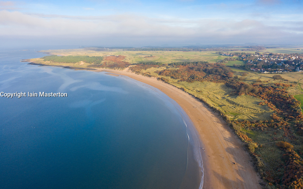 Aerial view of Gullane beach and bents in East Lothian, Scotland UK