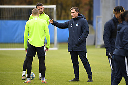 November 26, 2019, Genk, UNITED KINGDOM: Genk's Casper De Norre, Genk's Dries Wouters and Genk's head coach Hannes Wolf pictured during a training session of Belgian soccer team KRC Genk, Tuesday 26 November 2019 in Genk, in preparation of tomorrow's match against Austrian club RB Salzburg in the group stage of the UEFA Champions League. BELGA PHOTO YORICK JANSENS (Credit Image: © Yorick Jansens/Belga via ZUMA Press)