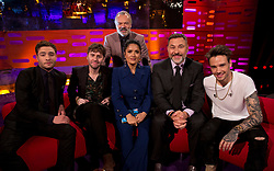 Host Graham Norton with (seated left to right) Ed Westwick, James Buckley, Salma Hayek, David Walliams and Liam Payne during the filming of the Graham Norton Show at the London Studios, to be aired on BBC One on Friday.