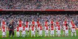 04-08-2015 NED: UEFA CL qualifying AFC Ajax - Rapid Wien, Amsterdam<br /> Ajax is al in de derde voorronde van de Champions League uitgeschakeld. Rapid Wien bleek een niet te nemen horde. Na de 2-2 in Wenen waren de Oostenrijkers in de Arena met 3-2 te sterk / Line up Ajax