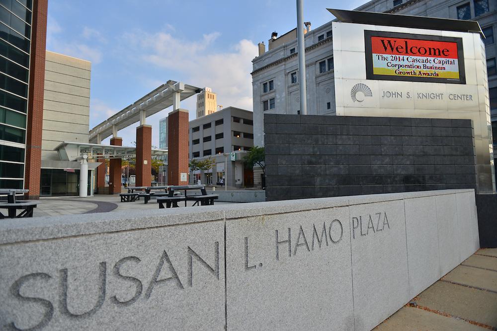 Susan L. Hamo Plaza outside the John. S. Knight Center.