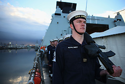 Crew members aboard HMS Duncan, as four Nato warships have docked in Belfast after monitoring a Russian aircraft carrier through the North Sea and on to the Mediterranean.