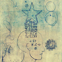 """Monoprint of a human head with alchemical symbols coming through from a star.<br /> :::<br /> """"Design has to instruct culture, and then culture makes the change. … The power of design is that it can start to create the awareness.""""<br /> Alex Bogusky"""