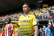 Jose Holebas of Watford walking out to the pitch from the tunnel before k/o. Barclays Premier League, Watford v Southampton at Vicarage Road in London on Sunday 23rd August 2015.<br /> pic by John Patrick Fletcher, Andrew Orchard sports photography.