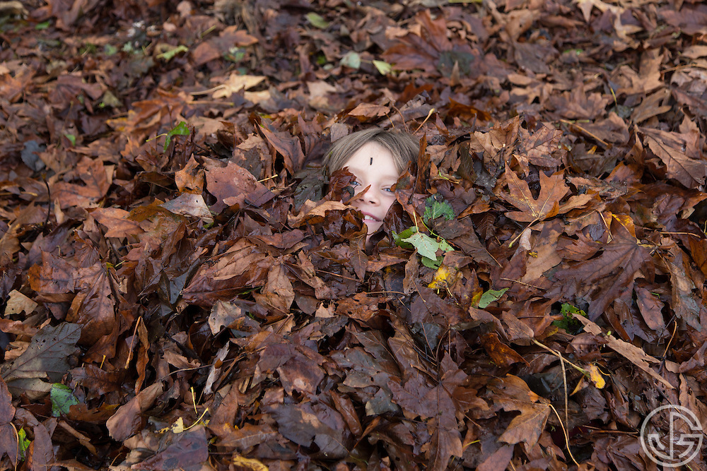 A boy covered in leaves at Bloedel Donovan Park in Bellingham, Washington.