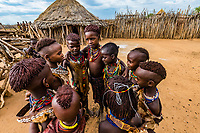 A group of Hamer tribe girls singing, Omo Valley, Ethiopia.