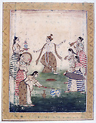 Album of Ragamala. Vasanta (Spring): Krishna dances to playing of Gopis,  cow-herding young women devoted to Krishna. 19th century Indian miniature, Rajasthan School with Mughul influence.