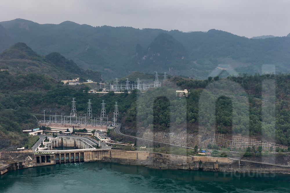 View of Hoa Binh's electric powerplant and dam, Vietnam, Southeast Asia