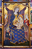 Altarpiece of the Virgin by JAUME SERRA Circa 1367-1381. Tempera, gold leaf and metal plate on wood (346.3 x 321 x 26 cm) MNAC - National Museum of Catalan art, Barcelona, Spain Inv No: 015916-CJT .<br /> <br /> If you prefer you can also buy from our ALAMY PHOTO LIBRARY  Collection visit : https://www.alamy.com/portfolio/paul-williams-funkystock/romanesque-art-antiquities.html<br /> Type -     MNAC     - into the LOWER SEARCH WITHIN GALLERY box. Refine search by adding background colour, place, subject etc<br /> <br /> Visit our ROMANESQUE ART PHOTO COLLECTION for more   photos  to download or buy as prints https://funkystock.photoshelter.com/gallery-collection/Medieval-Romanesque-Art-Antiquities-Historic-Sites-Pictures-Images-of/C0000uYGQT94tY_Y