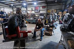 Bill Dodge in his Daytona Beach shop during the Daytona Bike Week 75th Anniversary event. FL, USA. Sunday March 13, 2016.  Photography ©2016 Michael Lichter.