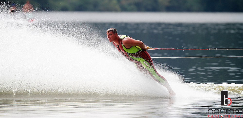A member of the Oxbow Water Ski Show Team skis barefoot and backwards at the Water Ski Show and Extravaganza at Batterson Park Pond in Farmington, Conn.