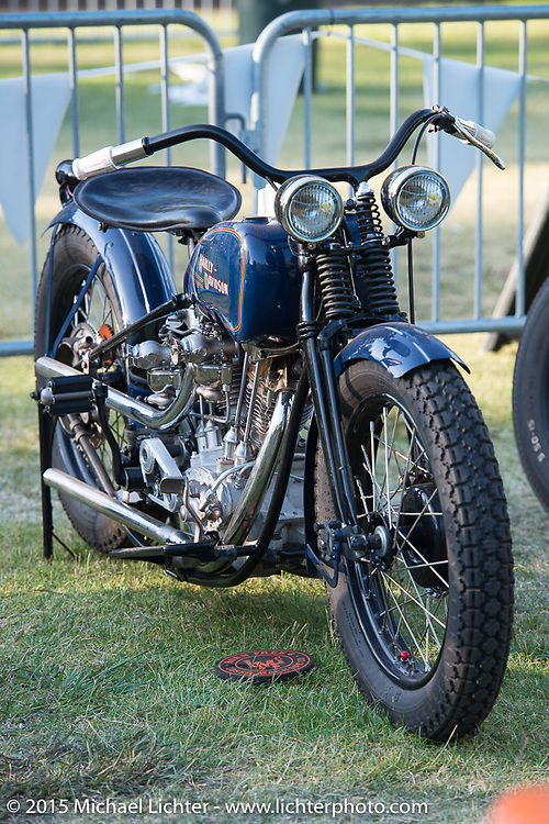 """Invited builder Matt Olsen's """"One of One"""" custom Harley on Saturday - for the builder-invite bike check-in for the Born-Free 6 Vintage Chopper and Classic Motorcycle Show. Silverado, CA. USA. June 28, 2014.  Photography ©2014 Michael Lichter."""
