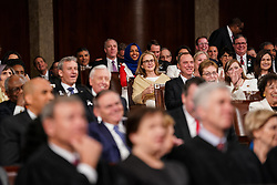 FEBRUARY 5, 2019 - WASHINGTON, DC: President Donald Trump delivered the State of the Union address, with Vice President Mike Pence and Speaker of the House Nancy Pelosi, at the Capitol in Washington, DC on February 5, 2019. Credit: Doug Mills / Pool, via CNP. 05 Feb 2019 Pictured: FEBRUARY 5, 2019 - WASHINGTON, DC: Representatives Madeleine Dean, D-PA, and Ilhan Omar, D-MN, during the State of the Union address at the Capitol in Washington, DC on February 5, 2019. Credit: Doug Mills / Pool, via CNP. Photo credit: Doug Mills - Pool via CNP / MEGA TheMegaAgency.com +1 888 505 6342