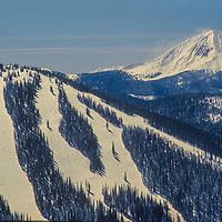 A skier descend new powder on The Burn, Breckenridge, CO
